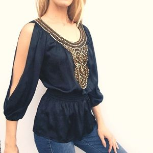 Bebe Peplum Slit 3/4 Sleeve Black Top w Gold Beads